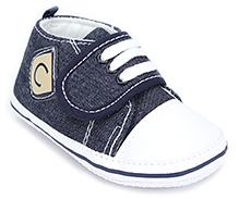 Cute Walk Baby Booties With Velcro Closure - Blue