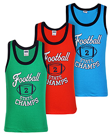 Simply Sleeveless Vest Football Print - Set Of 3