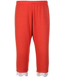 SAPS Quarter Length Legging With Lace At Hem - Orange