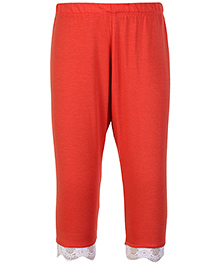SAPS Quarter Length Legging With Lace At Hem - Orange