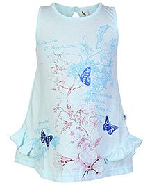 Cucumber Sleeveless Frock Sky Blue - Butterfly Print