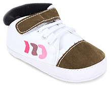 Cute Walk Baby Booties With Velcro Closure - White and Brown