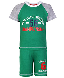 Pink Rabbit Half Sleeves T-Shirt and Shorts with Championship Print - Green