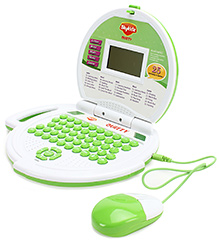 Mitashi Sky Kidz Quizzy Educational Laptop with Mouse White and Green 33 x 24 x 5 cm, Stylish Educational Laptop with Mouse