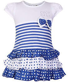 Cucumber Short Sleeves Frock with Layered Pattern - White and Blue