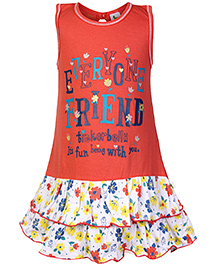 Cucumber Sleeveless Frock with Layered Bottom and Floral Print - Orange