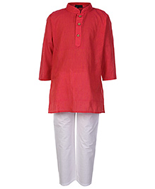 Babyhug Full Sleeves Kurta And Pajama Set - Red