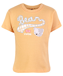 Zero Half Sleeves T-Shirt Bear Print - Light Orange