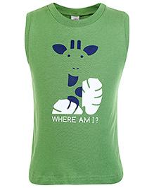 Zero Sleeveless T-Shirt Where Am I Print - Green