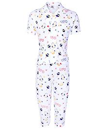 Fido Half Sleeves Night Suit White - UFO Print