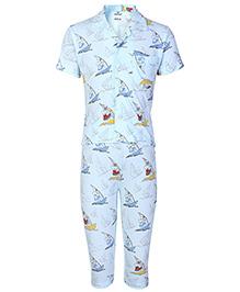 Fido Half Sleeves Night Suit Sky Blue - Teddy With Ship  Print