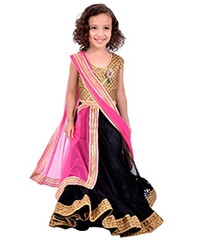 K&U Sleeveless Choli Lehenga Set - Golden