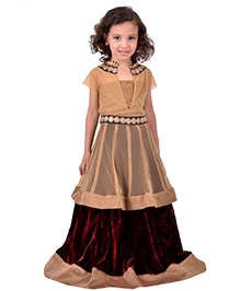 K&U Anarkali Lehenga - Golden