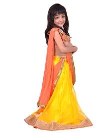 K&U Short Sleeves Lehenga Choli Set - Golden
