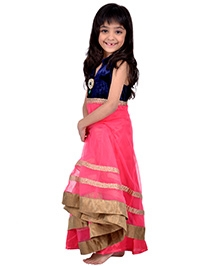 K&U Sleeveless Anarkali Set - Pink And Blue