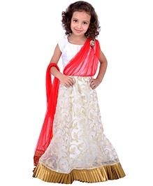 K&U Short Sleeves Lehenga Saree - White