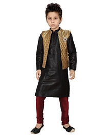 K&U Full Sleeves Black And Wine Kurta Pajama With Brocade Jacket