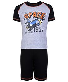 Fido Half Sleeves T-Shirt And Shorts Grey - The Space Ranger Print