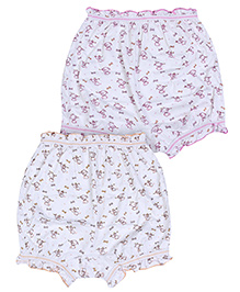 Bodycare Multi Print Bloomers White And Multi Colour - Set of Two