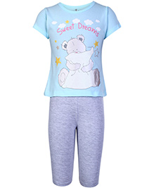 Fido Short Sleeves T-Shirt And Legging Sky Blue - Sweet Dreams Print