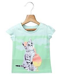 Beebay Short Sleeves High Density T-Shirt Green - Cat Print