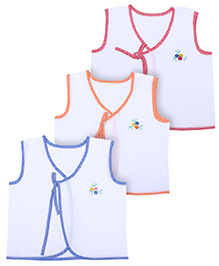 BabyHug Baby Vests Flower Print And Front Knot - Set of 3