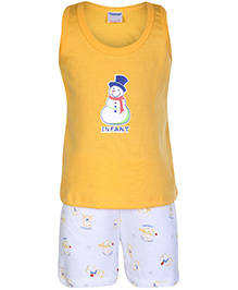 Tango Sleeveless T-Shirt And Shorts Snowman Print - Yellow