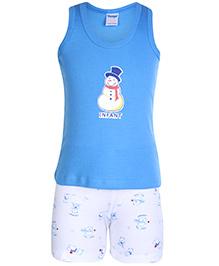 Tango Sleeveless T-Shirt And Shorts Snowman Print - Blue