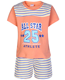 Tango Half Sleeves T-Shirt And Shorts Set All Star Print - Peach