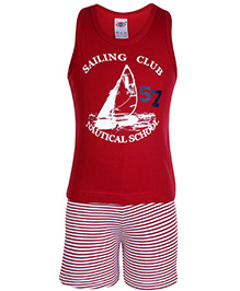 Zero Sleeveless T-Shirt And Shorts Red - Sailing Club Print