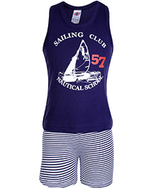 Zero Sleeveless T-Shirt And Shorts Blue - Sailing Club Print