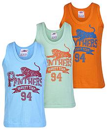 Zero Sleeveless Vest Panther Print - Set Of 3