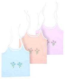 Babyhug Flower Embroidered Tie Up Slips - Set Of 3