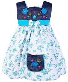 Babyhug Sleeveless Frock Embroidery Work Frock - Sky Blue
