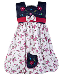 Babyhug Sleeveless Frock Embroidery Work Frock - Pink