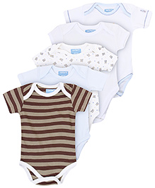 Carters Printed Short Sleeves Onesies - Set Of 5