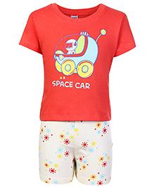Tango Half Sleeves T-Shirt And Shorts Red - Space Car Print