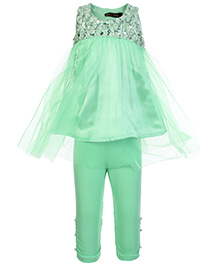 Gini & Jony Sleeveless Net Top With Legging - Light Green