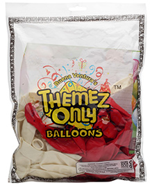 Themez Only  Rubber Play Balloon Red And White - 50 Pieces