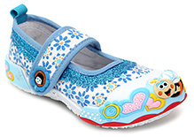 Cute Walk Canvas Shoe with Honey Bee Applique - Blue