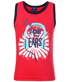 Taeko Sleeveless T-Shirt Red - For Your Ears Print