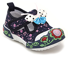 Cute Walk Canvas Shoe with Floral Applique - Navy Blue