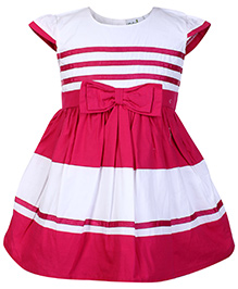 Babyhug Cap Sleeves Frock with Bow - Dark Pink