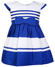Babyhug Cap Sleeves Frock with Bow - Blue