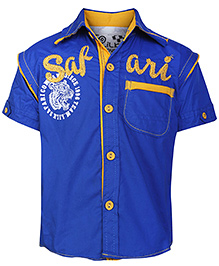 Little Kangaroos Half Sleeves Shirt with Safari Embroidery - Blue