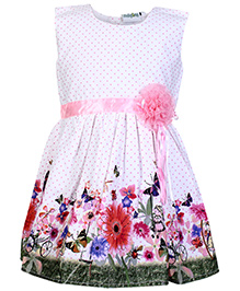 Babyhug Sleeveless Frock with Floral Print and Applique - White and Pink