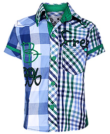 Little Kangaroos Half Sleeves Shirt with Check Print - Green and Blue
