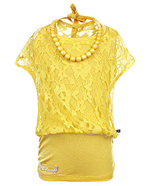 Little Kangaroos Short Sleeves Top With Matching Necklace - Yellow