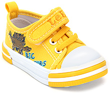 Cute Walk Canvas Shoe with Velcro Strap and Lace Decoration - Yellow