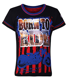 Little Kangaroos Half Sleeves T-Shirt with Born to Ride Print - Black